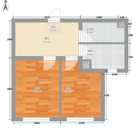 铖裕香榭湾2室1厅1卫1厨34.53㎡户型图