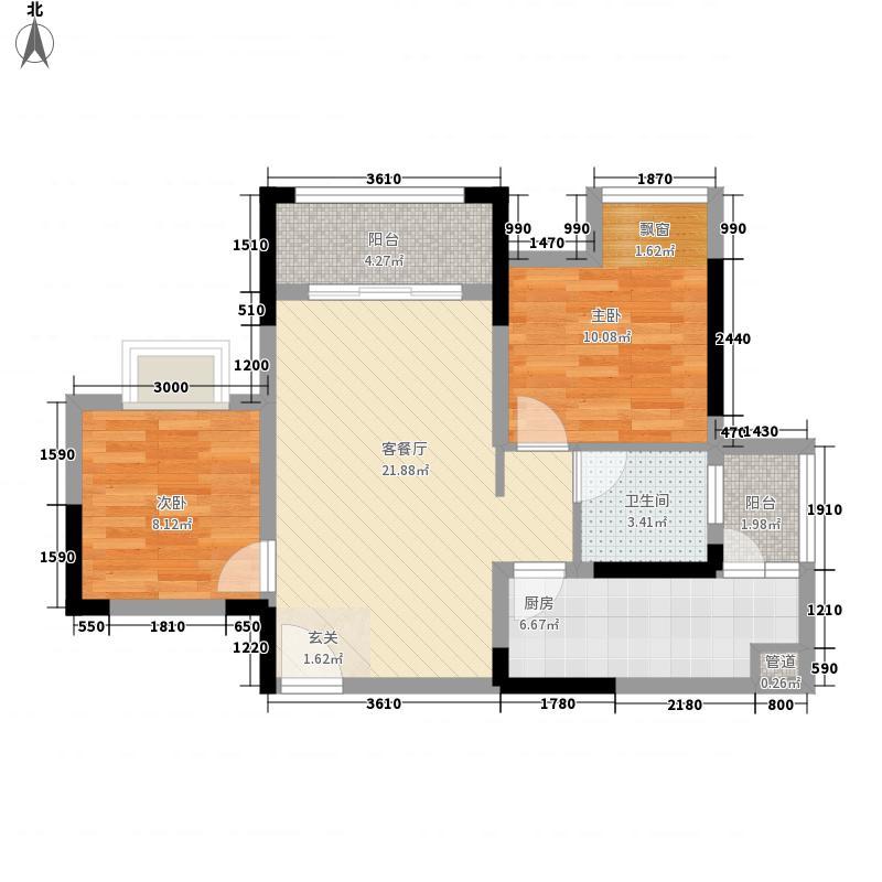 上城中央77.80㎡一期2幢/8幢标准层D1-4-5户型2室2厅1卫1厨