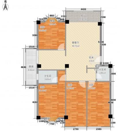 大唐长风一期4室1厅2卫1厨157.00㎡户型图