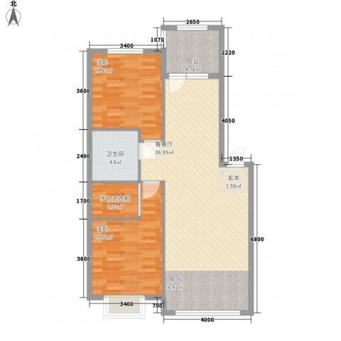 阳光新城三期中央街区2室1厅1卫0厨103.00㎡户型图