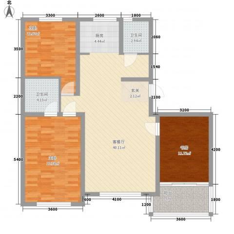 铖裕香榭湾3室1厅2卫0厨134.00㎡户型图