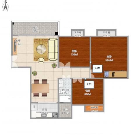 如英居3室1厅1卫1厨84.00㎡户型图