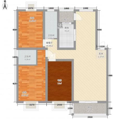 美罗嘉苑3室1厅2卫1厨132.00㎡户型图
