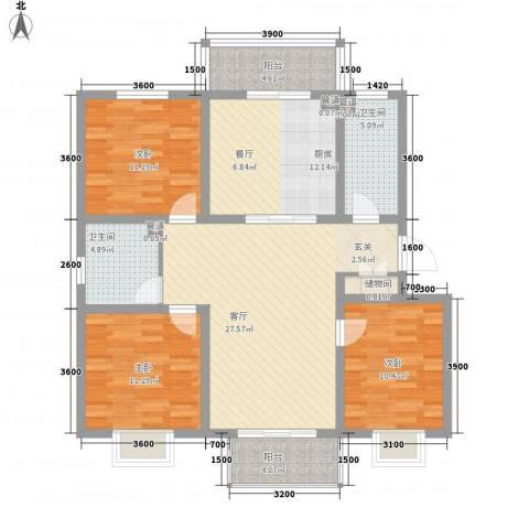 西苑广场3室1厅2卫1厨134.00㎡户型图