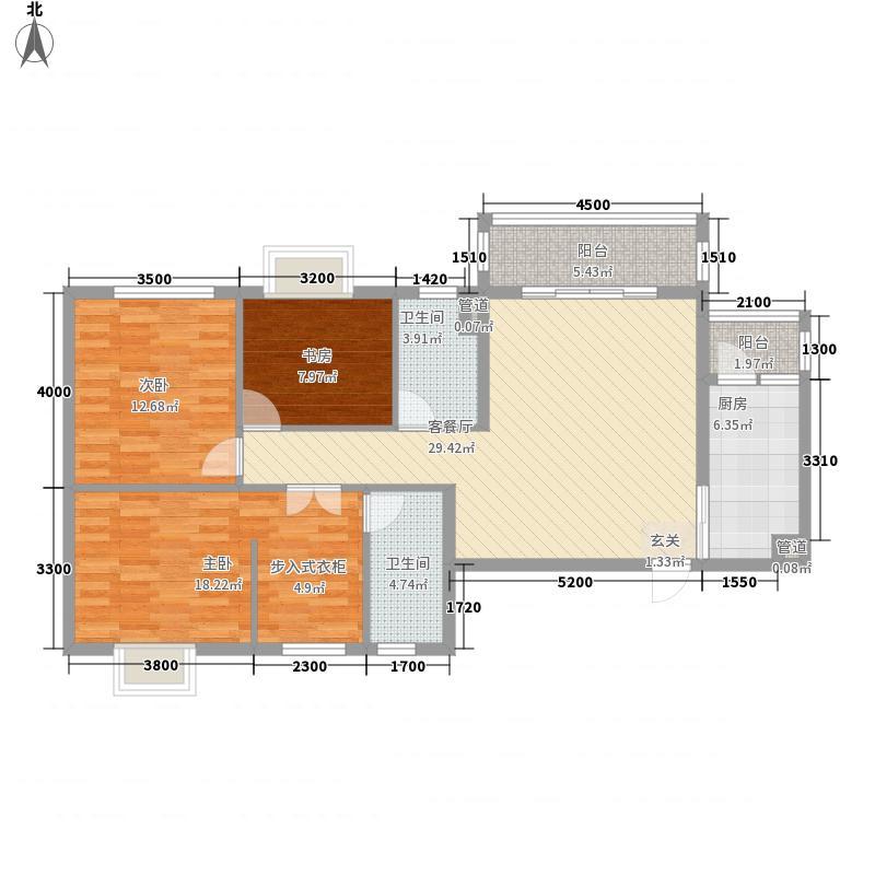 山水黔城户型图一组团M1户型 3室2厅2卫1厨
