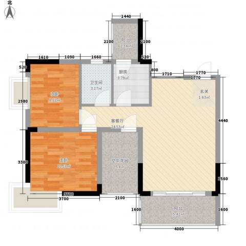 江南御都2室1厅1卫1厨73.28㎡户型图