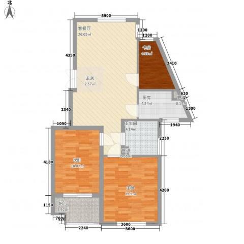 吕岭花园3室1厅1卫1厨97.00㎡户型图