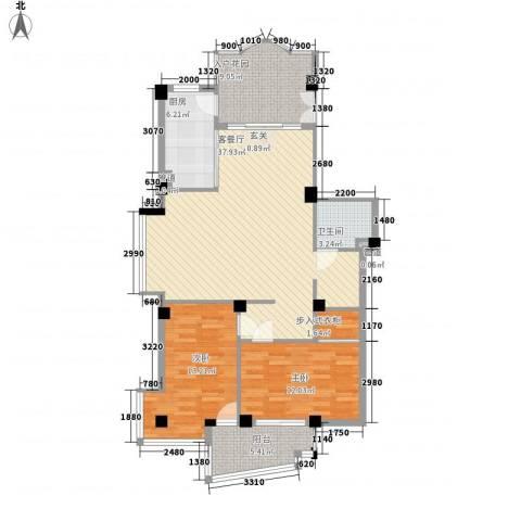 玫瑰山庄2室1厅1卫1厨125.00㎡户型图