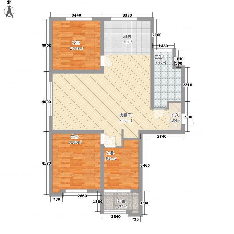 青州龙苑113.87㎡二期高层C户型3室2厅1卫1厨
