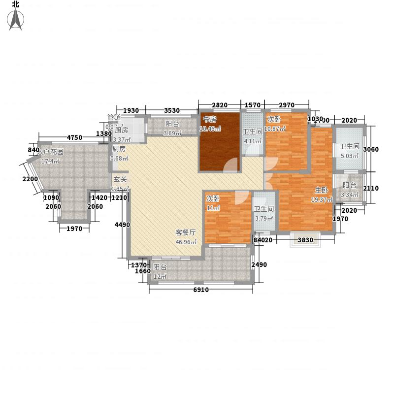 融汇江山213.00㎡A1御景阁户型4室2厅3卫1厨