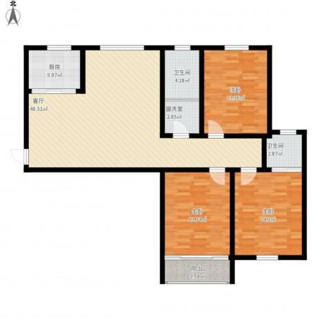 鸿运苑二期3室2厅2卫1厨143.00㎡户型图