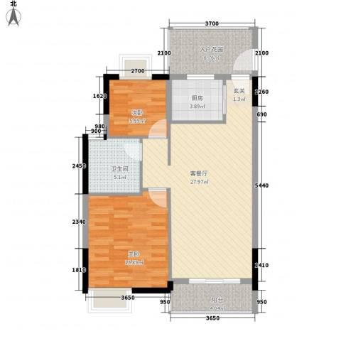 嘉利豪庭2室1厅1卫1厨67.66㎡户型图