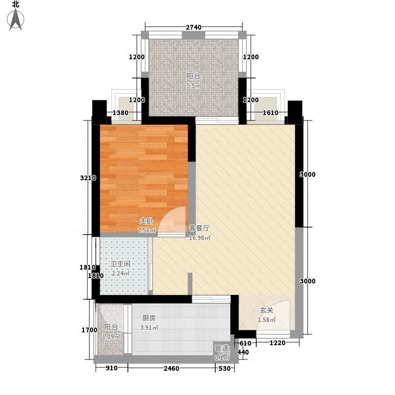 瑞同优米1室1厅1卫1厨55.00㎡户型图