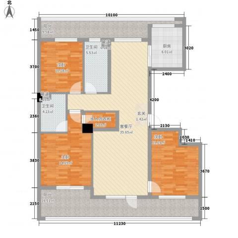 绿城沈阳全运村3室1厅2卫1厨170.00㎡户型图