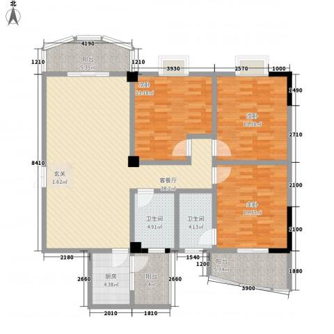 泰丰半岛悦城3室1厅2卫1厨152.00㎡户型图
