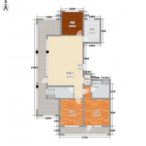 绿城沈阳全运村3室1厅2卫1厨176.00㎡户型图
