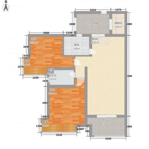 中海星湖国际2室1厅1卫1厨100.00㎡户型图