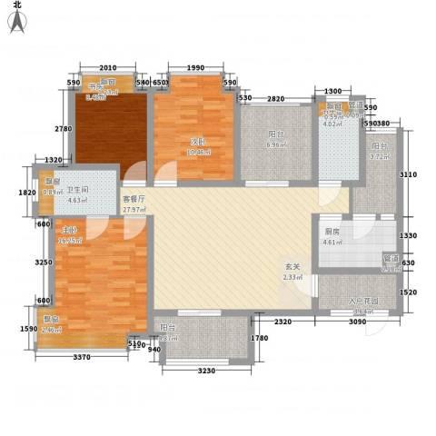 中海星湖国际3室1厅2卫1厨139.00㎡户型图