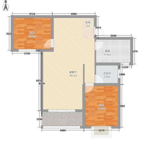 海棠花园2室1厅1卫1厨100.00㎡户型图