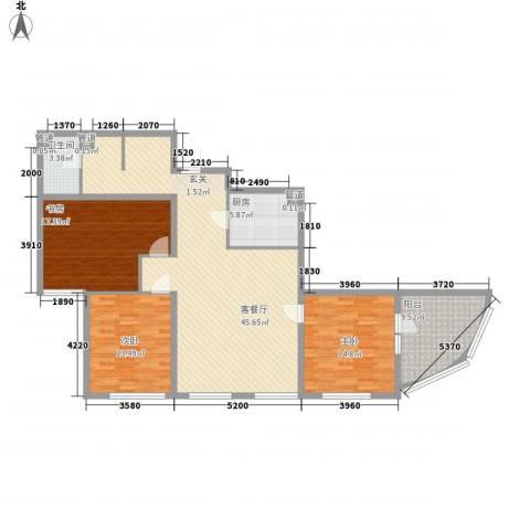东方星海3室1厅1卫1厨158.00㎡户型图