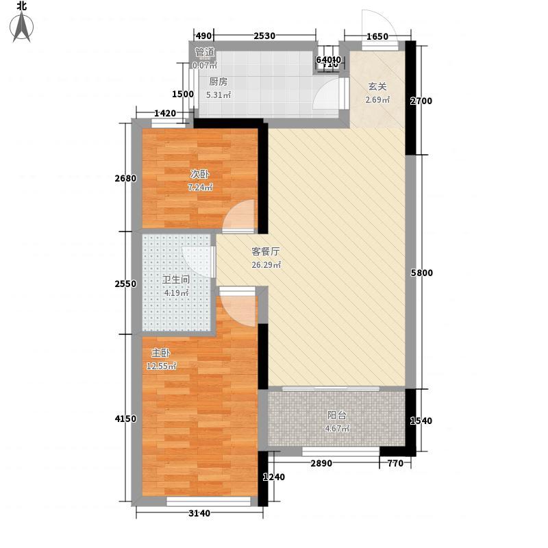 山河城伴山星河86.00㎡5#7#C2户型2室2厅1卫1厨
