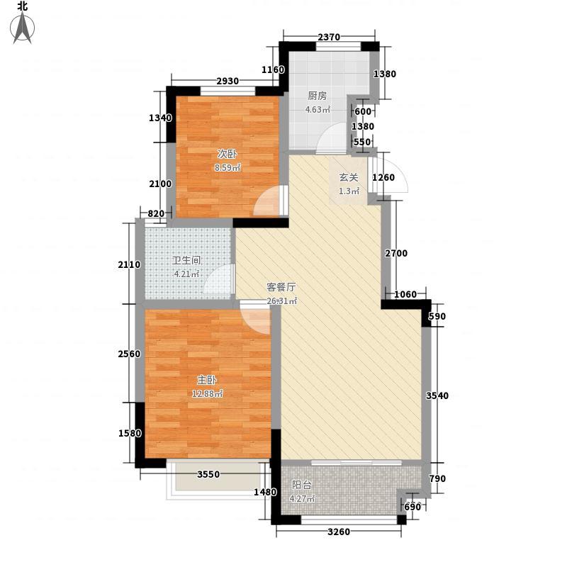 山河城伴山星河88.00㎡1#2#3#4#B2户型2室2厅1卫1厨