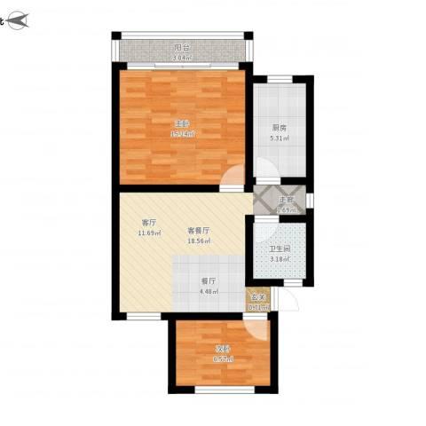 灯塔新村2室1厅1卫1厨76.00㎡户型图