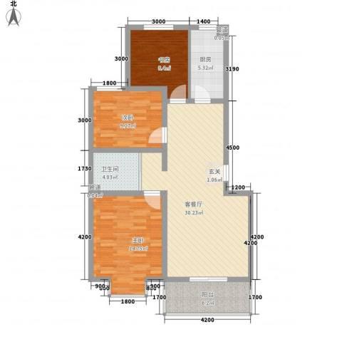 七色镇3室1厅1卫1厨78.30㎡户型图
