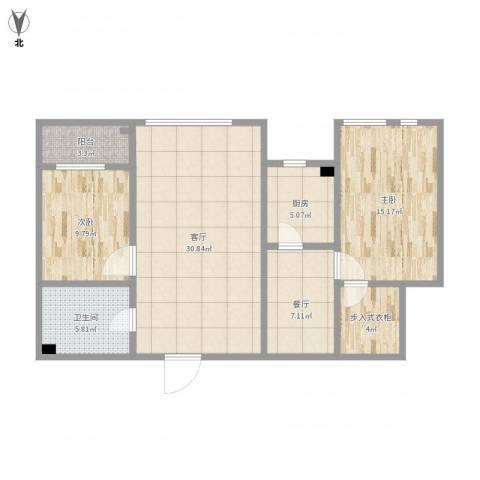 艺术家公寓B座16022室2厅1卫1厨112.00㎡户型图