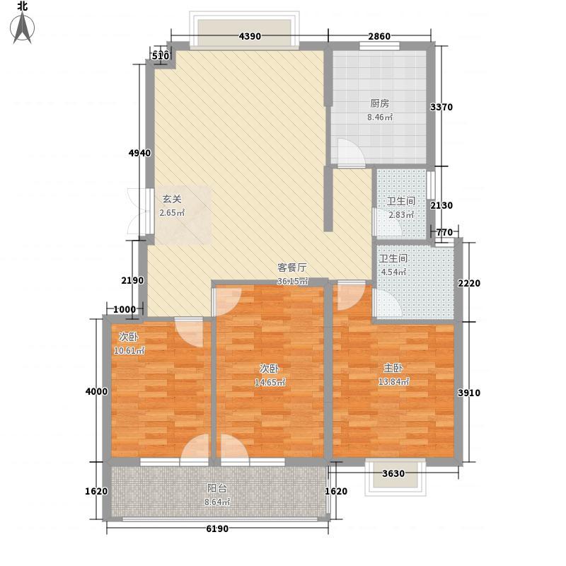 明琛・香榭丽119.04㎡明琛・香榭丽户型图3#-H户型3室2厅2卫1厨户型3室2厅2卫1厨
