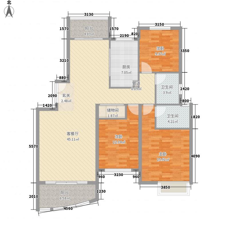 棕榈城154.00㎡3号楼标准层01户型3室2厅2卫1厨