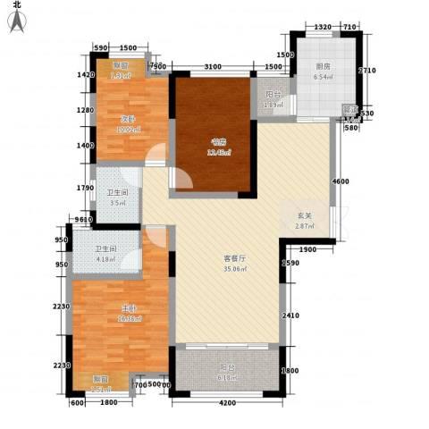 秦岭北麓3室1厅2卫1厨139.00㎡户型图