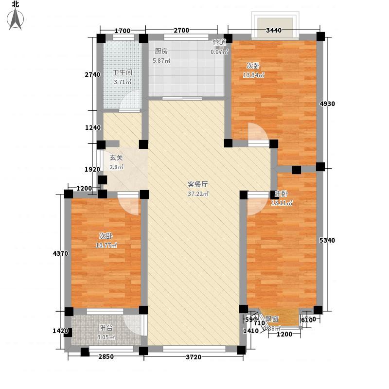 舜华园125.00㎡(3)户型3室2厅1卫1厨