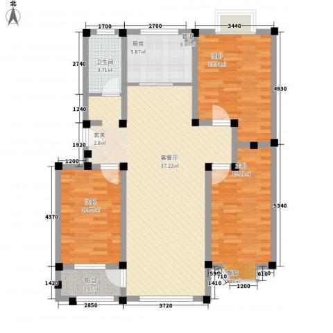 舜华园3室1厅1卫1厨125.00㎡户型图
