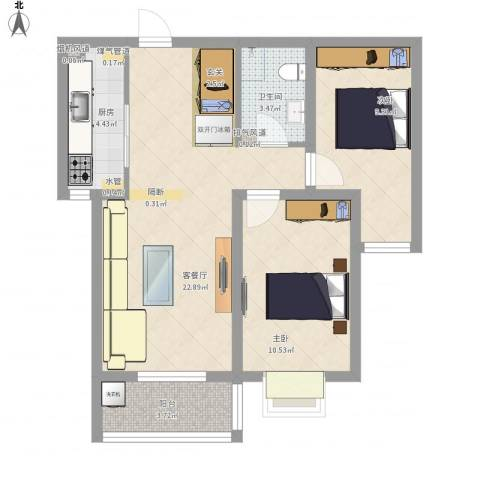 城市西景2室1厅1卫1厨80.00㎡户型图