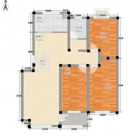 舜华园3室1厅1卫1厨127.00㎡户型图