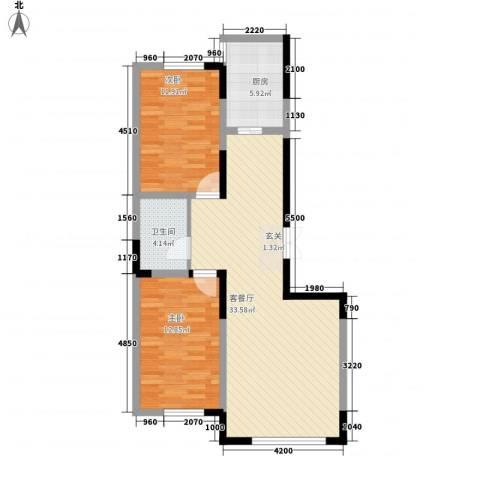 龙泰富苑2室1厅1卫1厨68.40㎡户型图