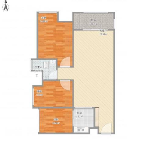 优越香格里3室1厅1卫1厨89.00㎡户型图