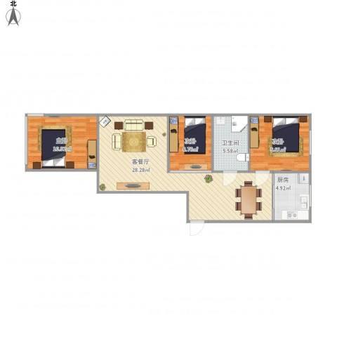 学府花园3室1厅1卫1厨89.00㎡户型图