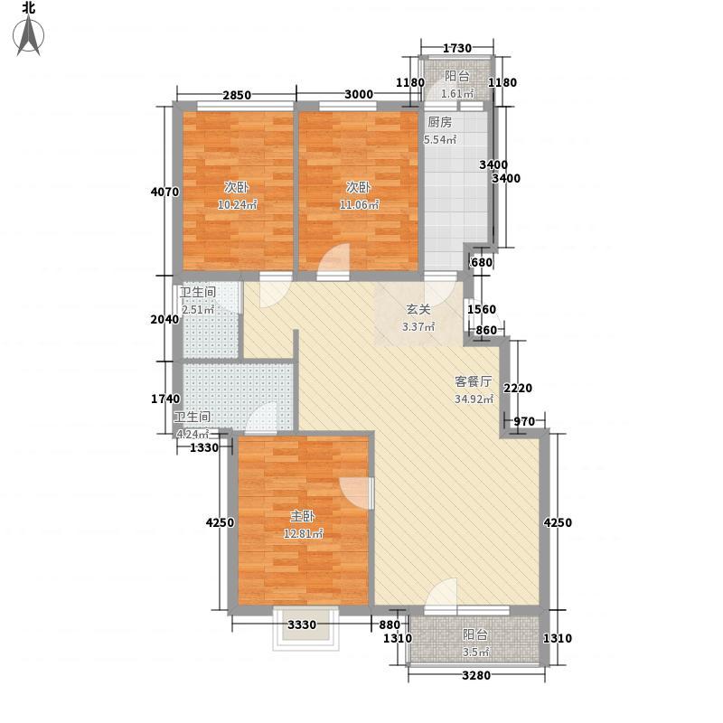 郦湖北岸121.83㎡120A户型3室2厅2卫1厨