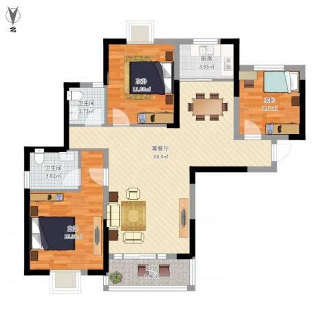 百乐门悦府3室1厅2卫1厨118.00㎡户型图