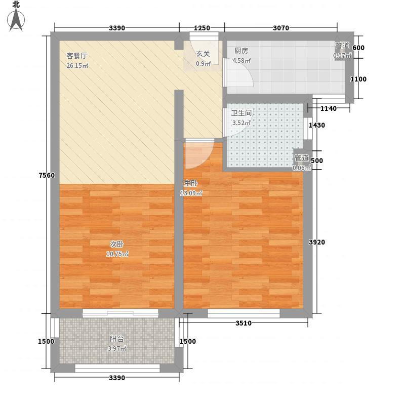 龙湖滟澜山住宅74.00㎡龙湖滟澜时光F1户型2室2厅1卫1厨