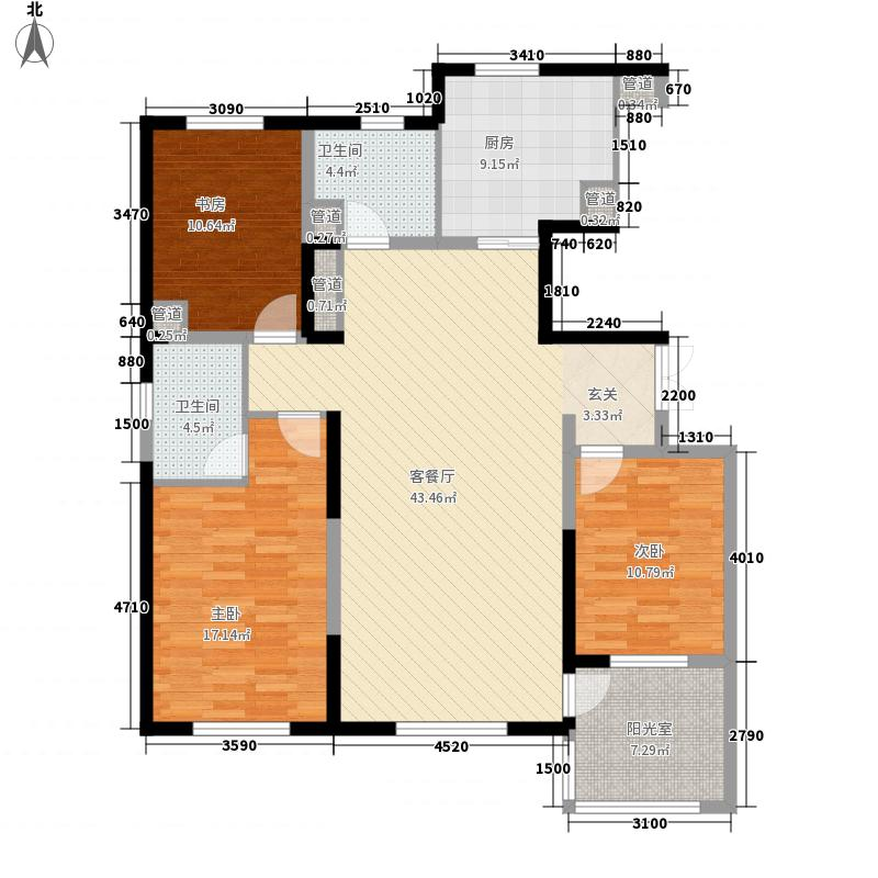 天泰太阳树155.00㎡34号楼风尚A户型3室2厅2卫
