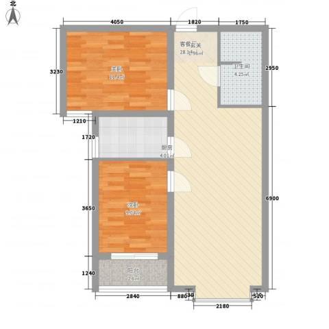 中央学府2室1厅1卫1厨86.00㎡户型图