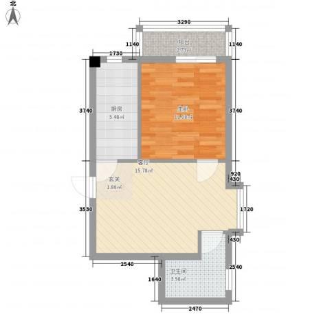 中央学府1室1厅1卫1厨57.00㎡户型图