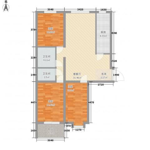 中央学府3室1厅2卫1厨116.00㎡户型图