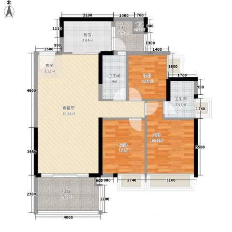 五星国墅园3室1厅2卫1厨91.96㎡户型图