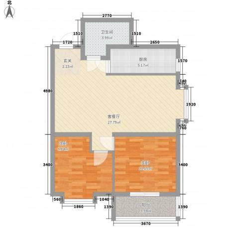 中央学府2室1厅1卫1厨87.00㎡户型图