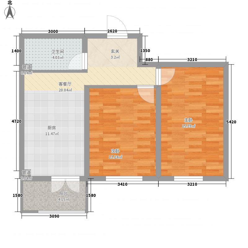 明光翡翠湾57.28㎡4号楼C户型2室1厅1卫1厨