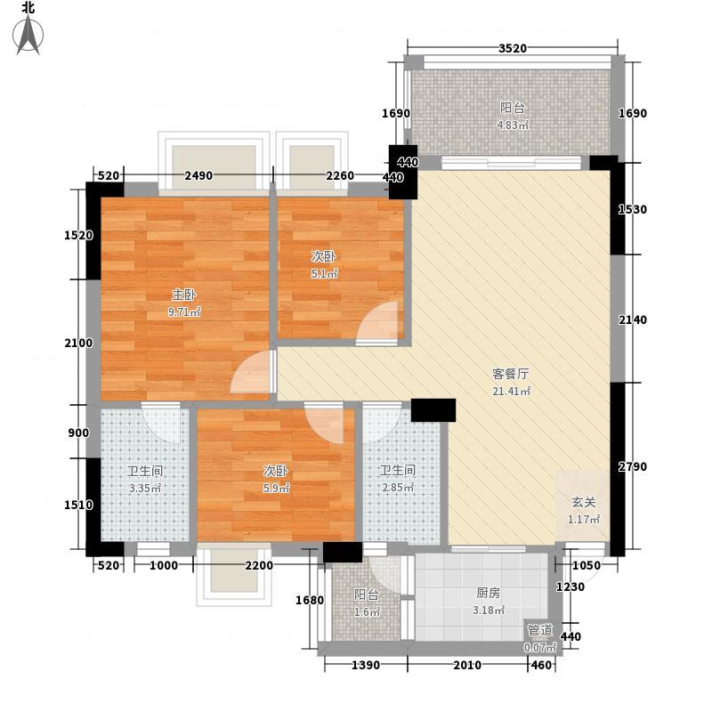 恩平碧桂园83.57㎡�居1号楼J103二层02单位户型3室2厅